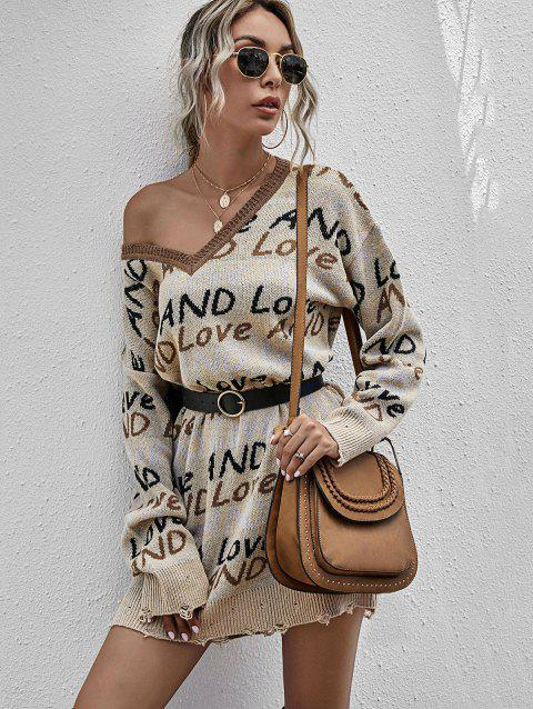 And Love Graphic Distressed Sweater Dress