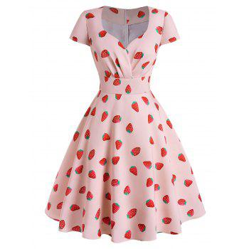 Strawberry Print Cap Sleeve Surplice Plus Size Dress
