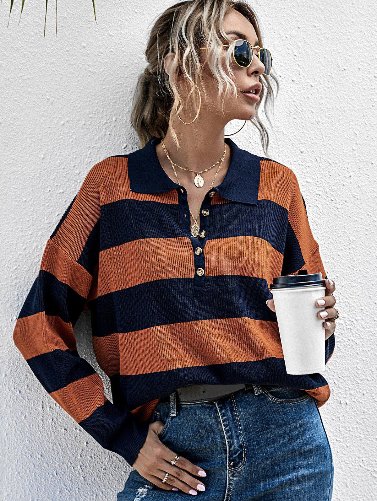 Two Tone Striped Half Button Sweater - DARK ORANGE L