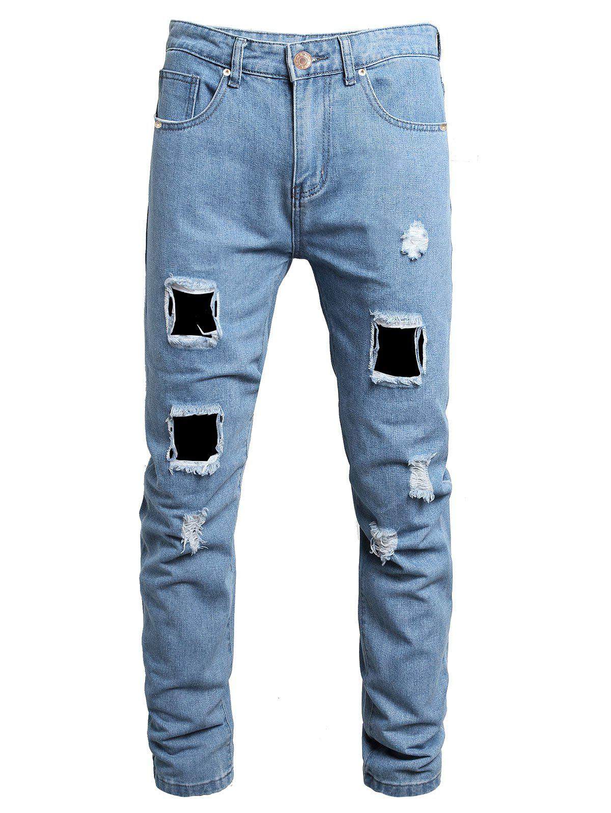 Destroy Wash Ripped Long Jeans - JEANS BLUE 38