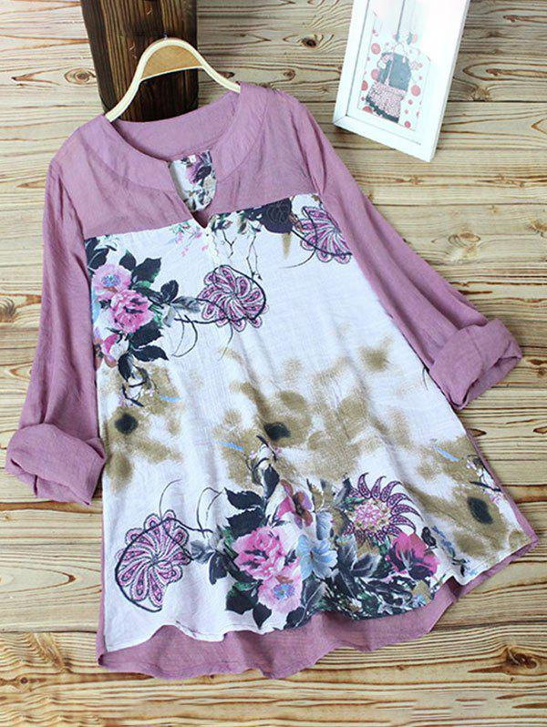 Plus Size Floral Print High Low Tunic Top - LIGHT PINK 4XL