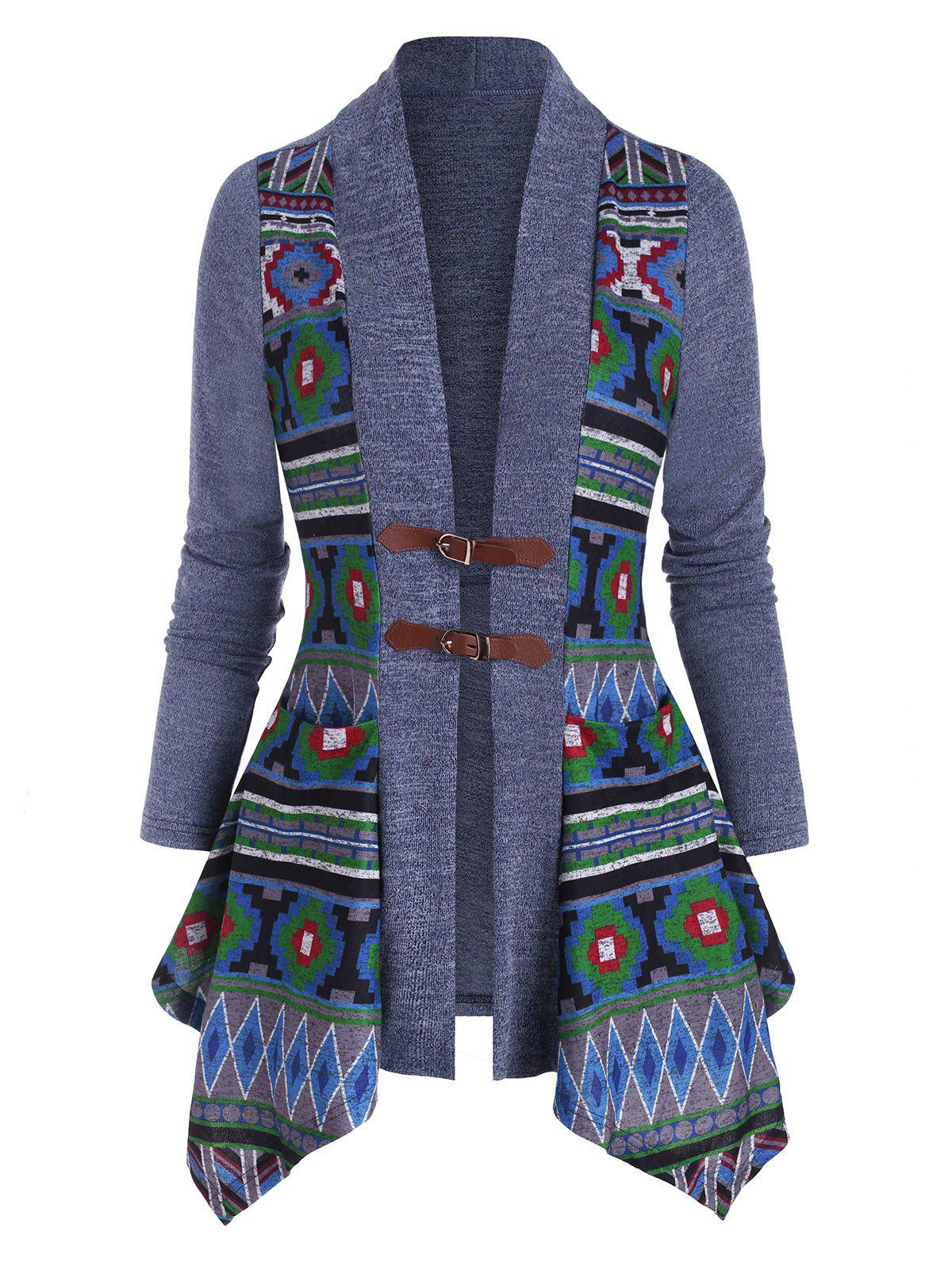 Buckle Front Pocket Geometric Cardigan - DEEP BLUE XXL