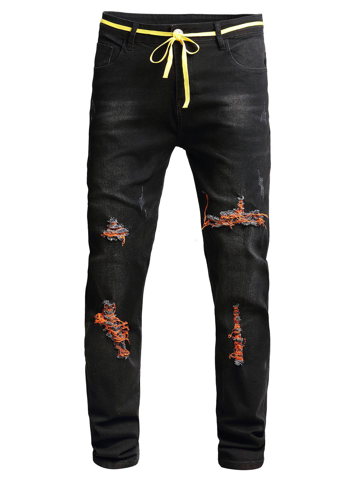 Distressed Ripped Long Denim Pants - BLACK 36