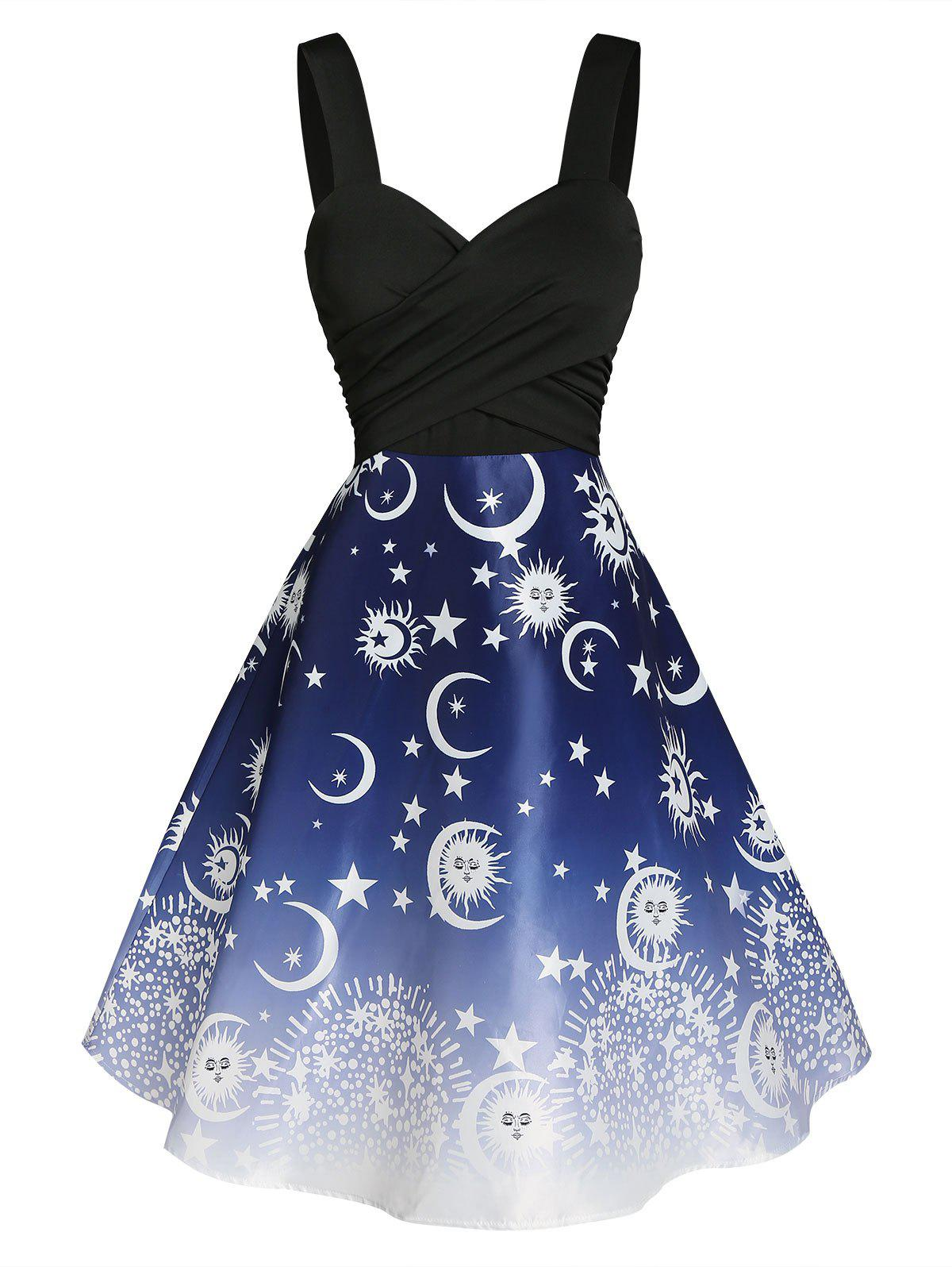 Sun and Moon Print Crossover Dress - multicolor A XL
