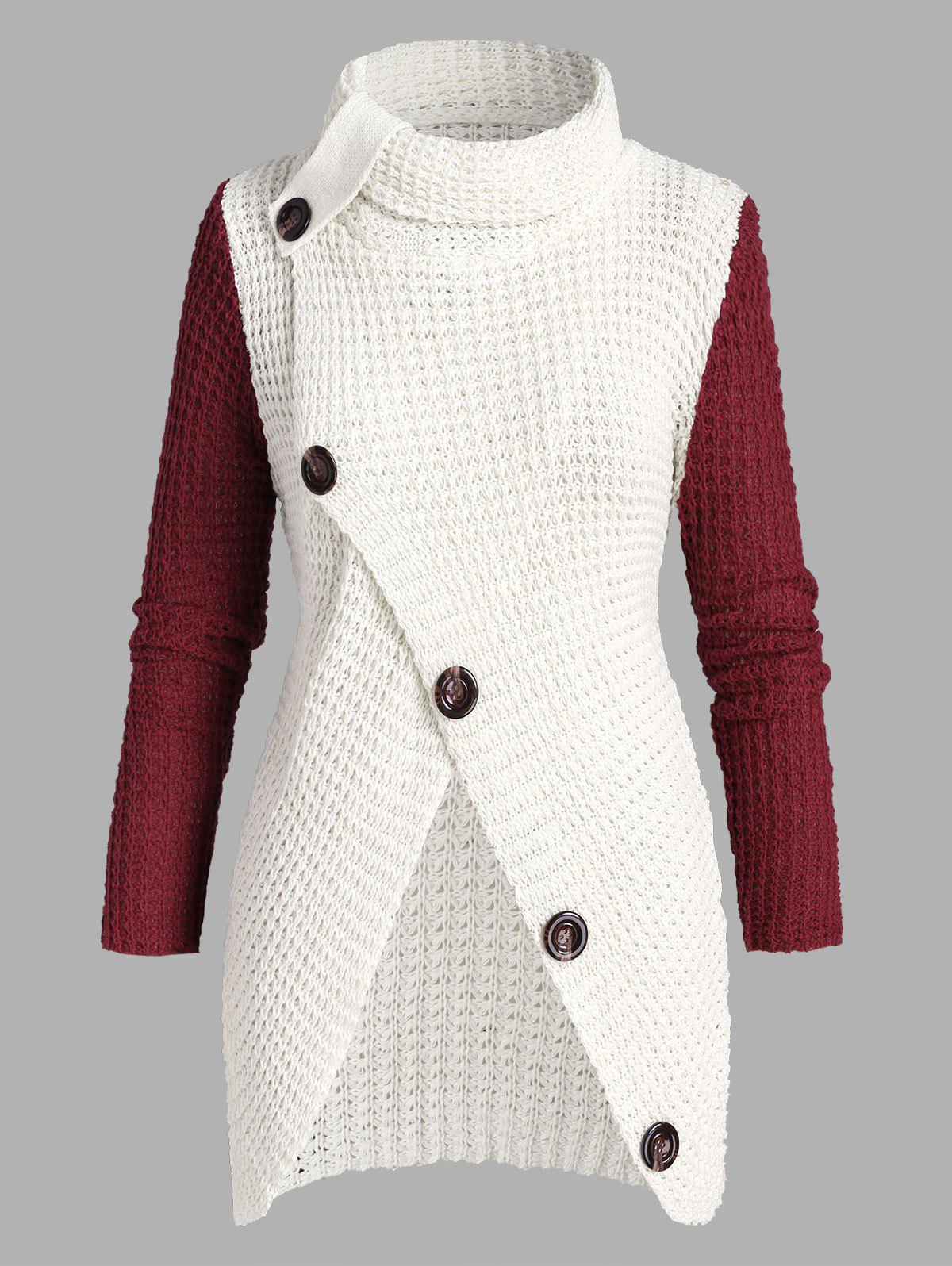 Plus Size Mock Button Slit Chunky Sweater - WHITE ONE SIZE