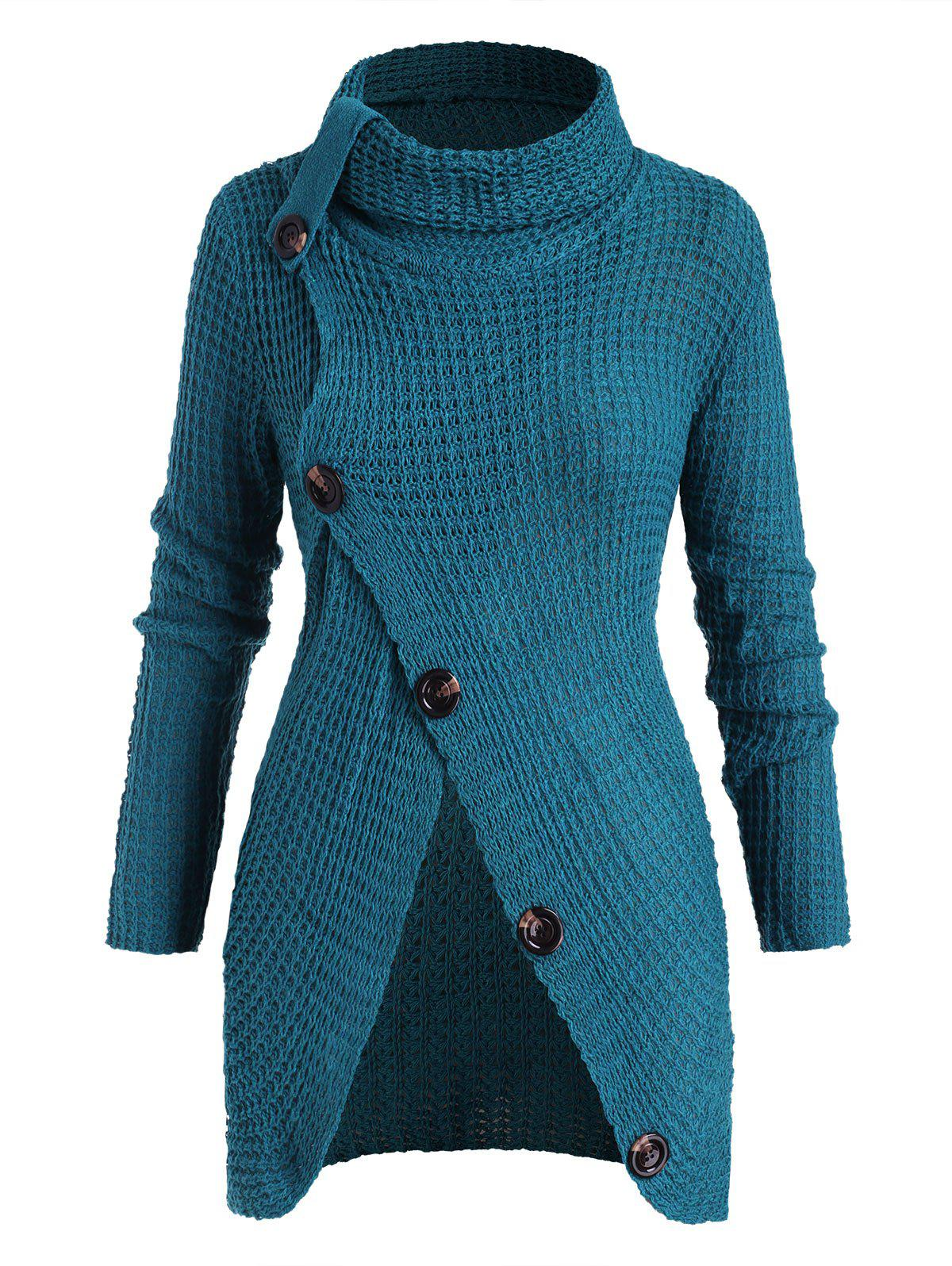 Plus Size Mock Button Slit Chunky Sweater - BLUE ONE SIZE