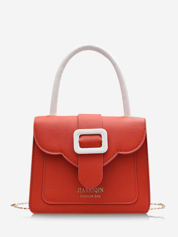 Colorblock Chain Square Cover Crossbody Bag - LIVING CORAL