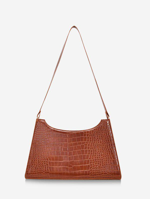French Style Trapezoid Textured Shoulder Bag - RUST