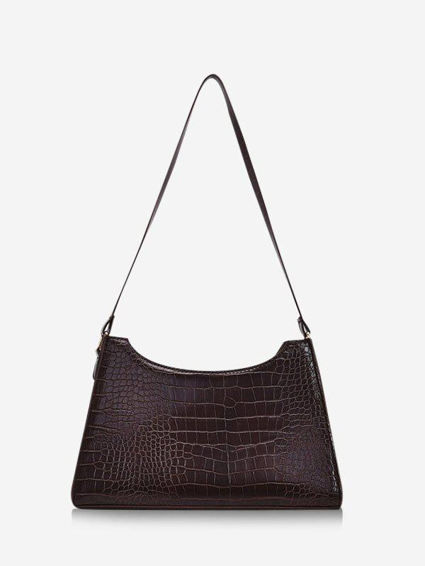 French Style Trapezoid Textured Shoulder Bag - DEEP COFFEE
