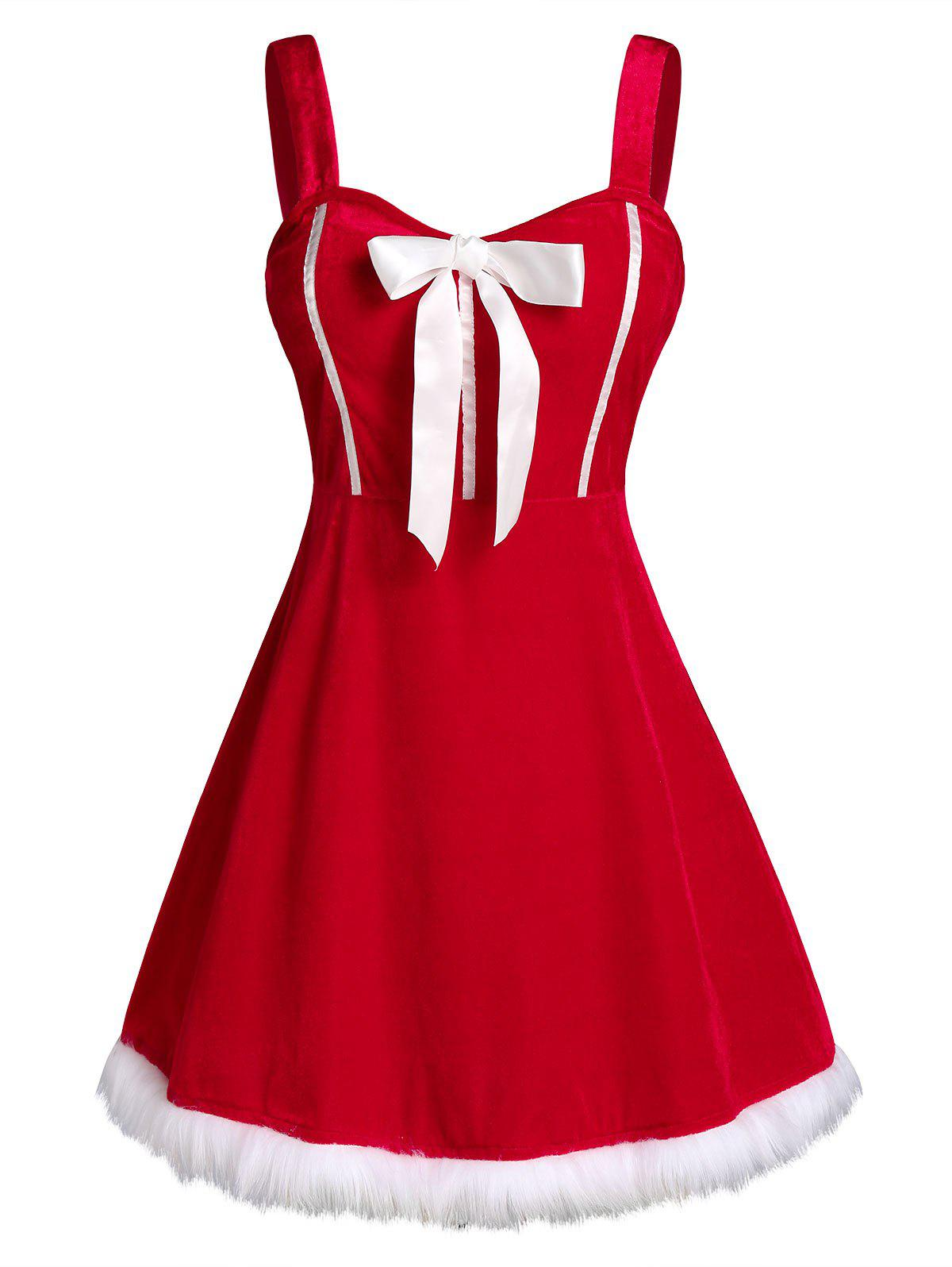 Plus Size Velvet Christmas Bowknot Dress with G-string - RED 3X