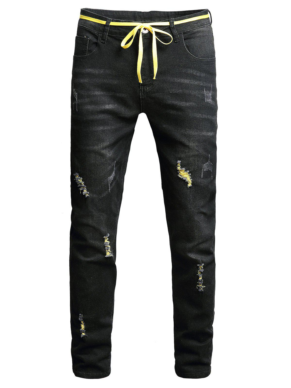 Long Zip Fly Ripped Jeans - BLACK 36
