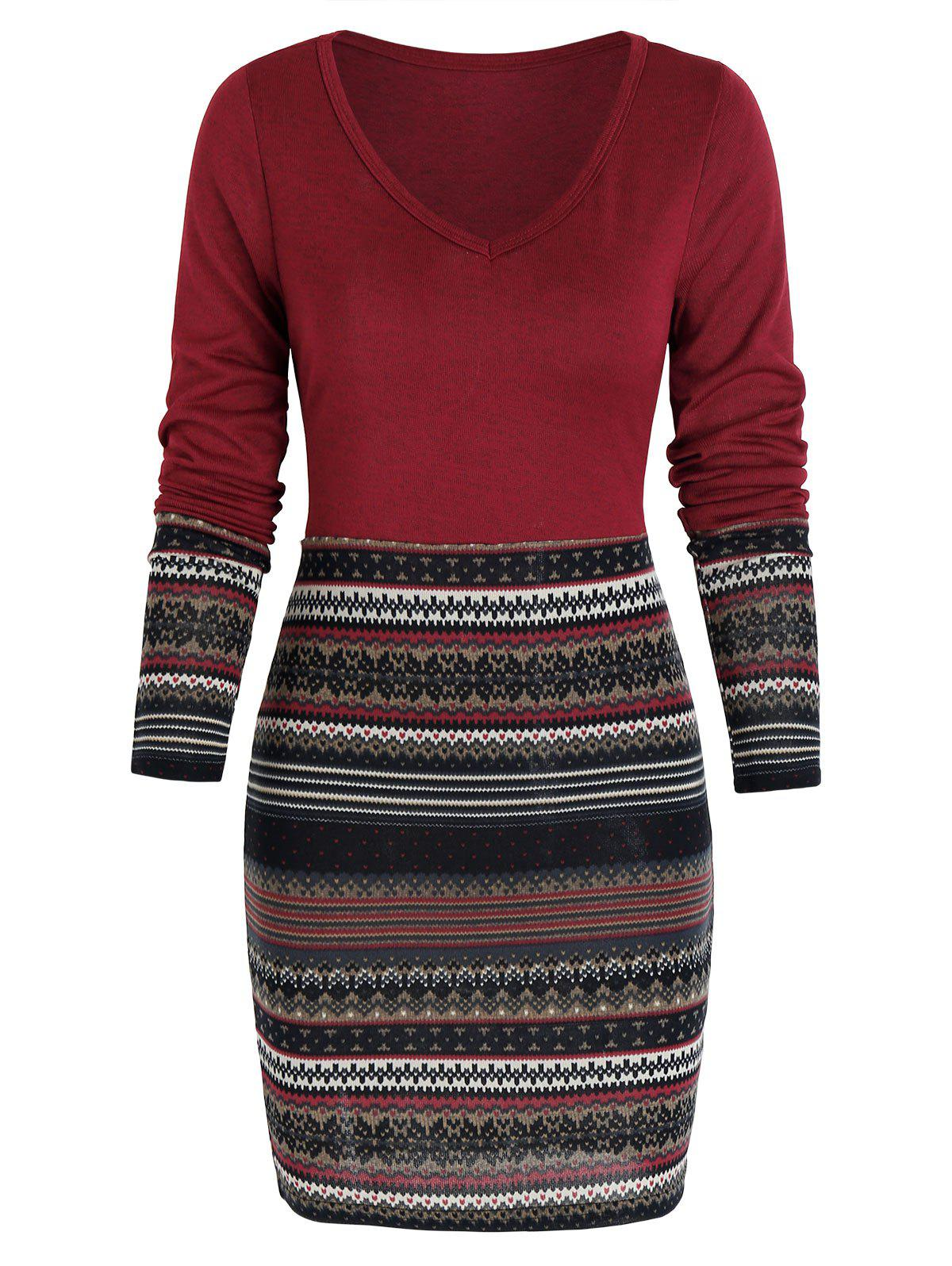 Tribal Print Mini Bodycon Dress - RED WINE M