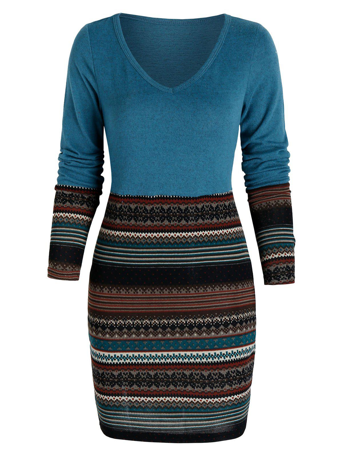 Tribal Print Mini Bodycon Dress - PEACOCK BLUE L
