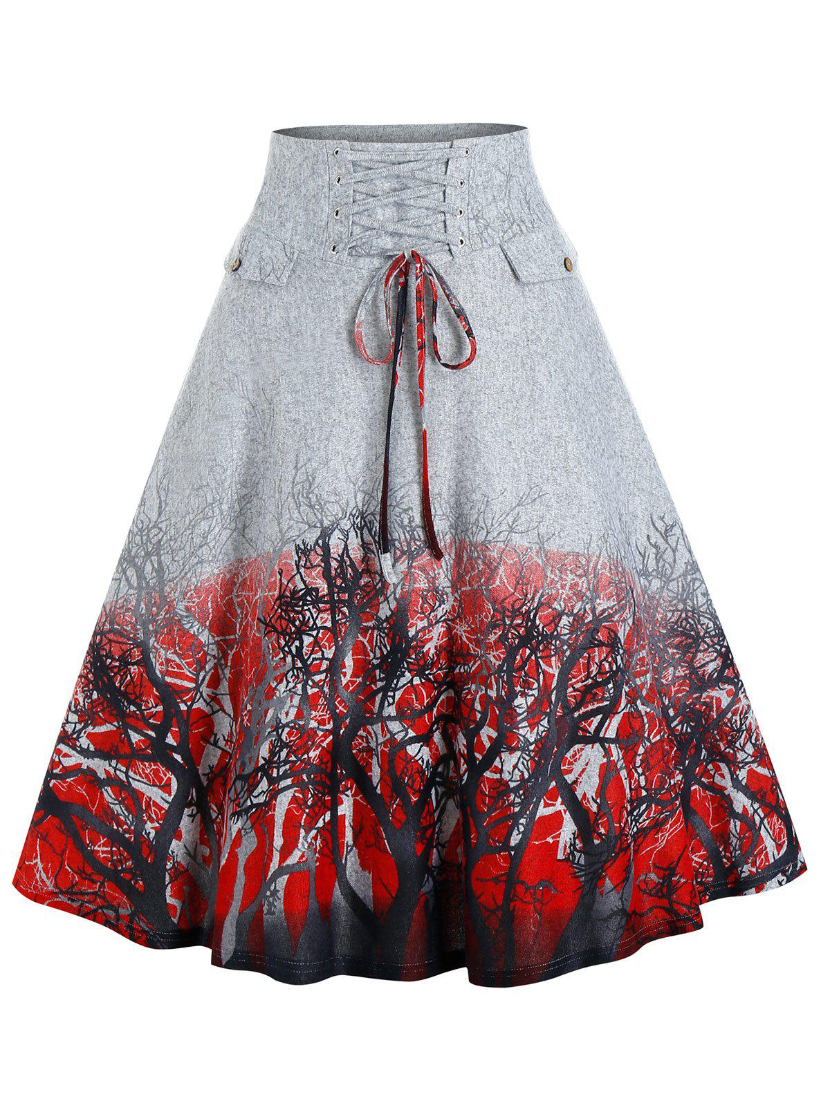 Trees Print Lace-up Front Skirt - GRAY XL