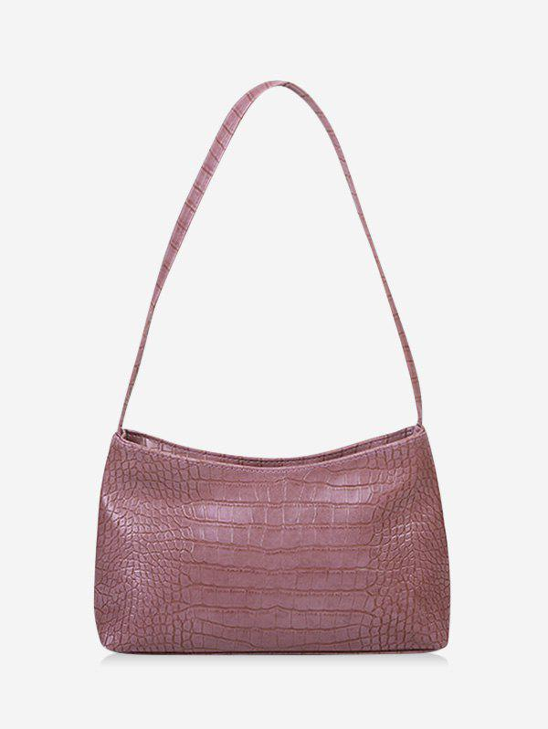 French Style Textured Solid Shoulder Bag - LIGHT PURPLE