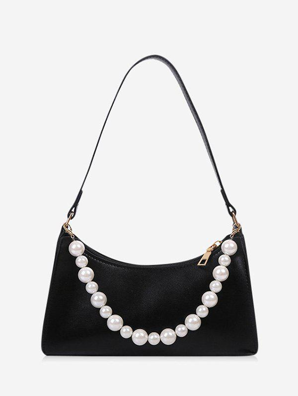 French Style Faux Pearl Rectangle Shoulder Bag - BLACK
