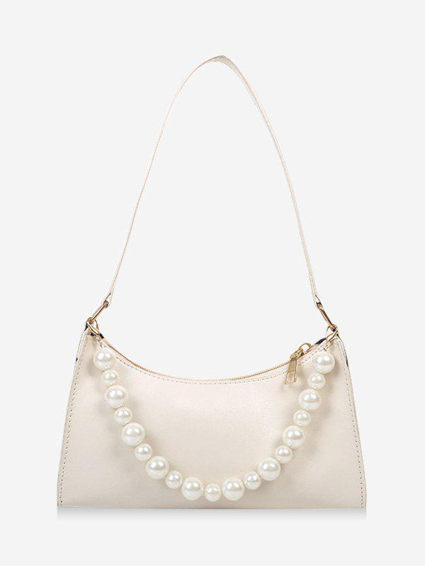 French Style Faux Pearl Rectangle Shoulder Bag - MILK WHITE