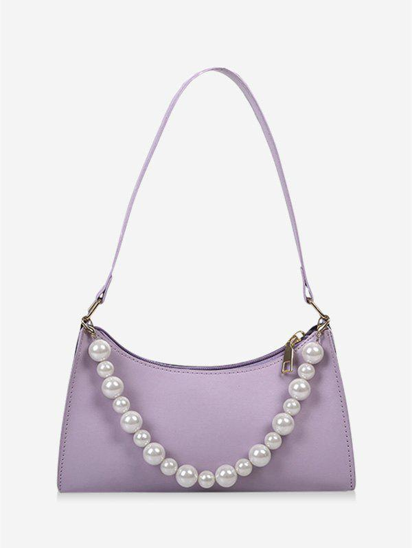 French Style Faux Pearl Rectangle Shoulder Bag - LIGHT PURPLE