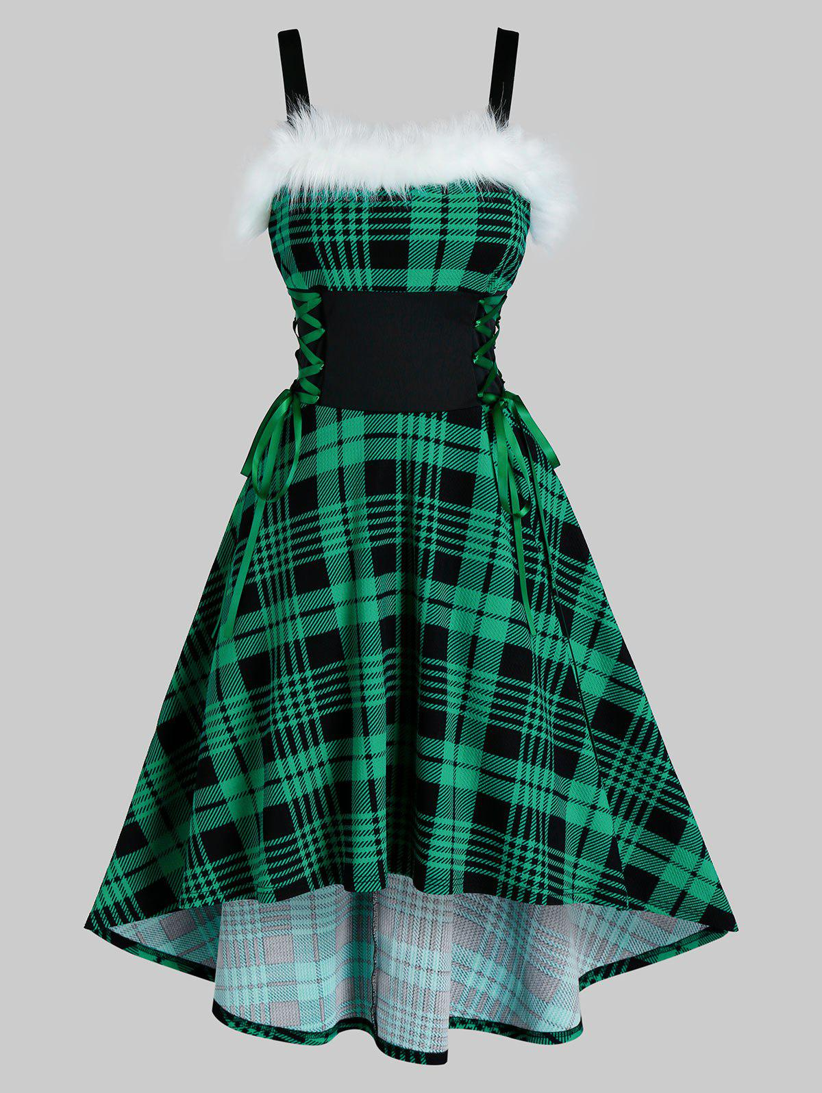 Plaid Print Lace-up Sleeveless High Low Christmas Dress - DEEP GREEN 3XL