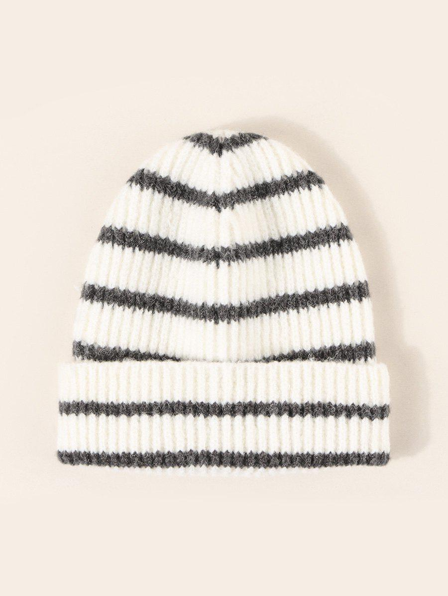 Striped Pattern Winter Knitted Hat - multicolor A