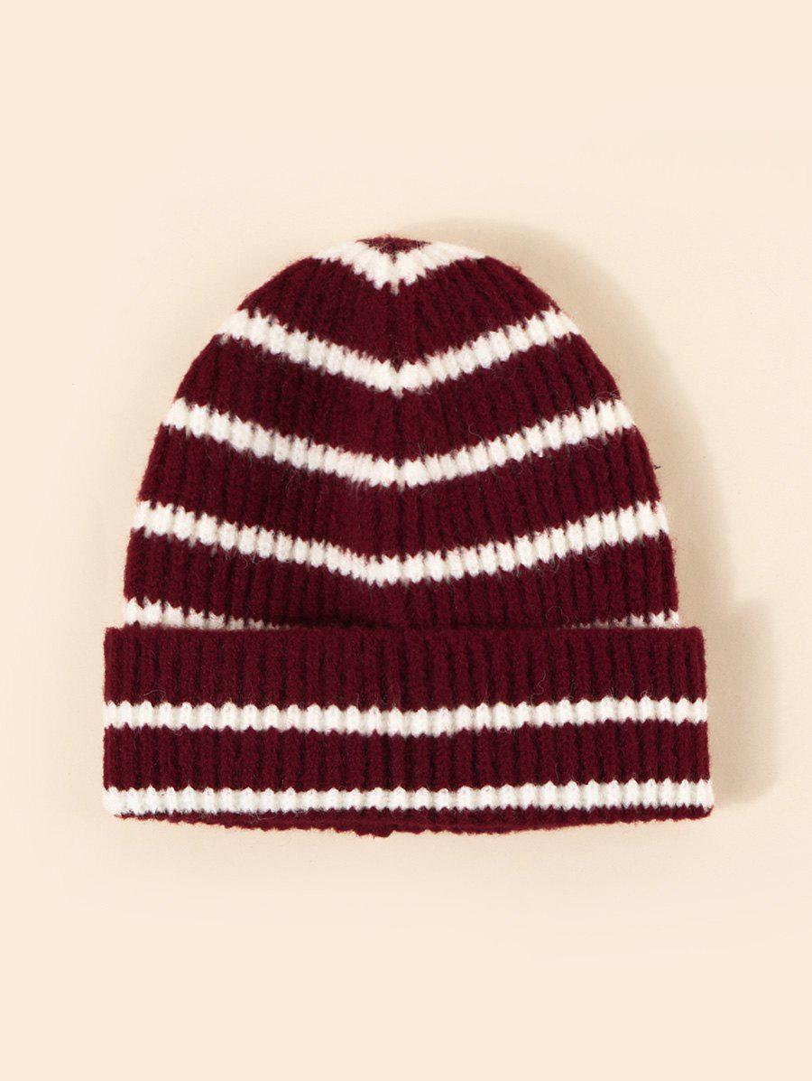 Striped Pattern Winter Knitted Hat - RED WINE