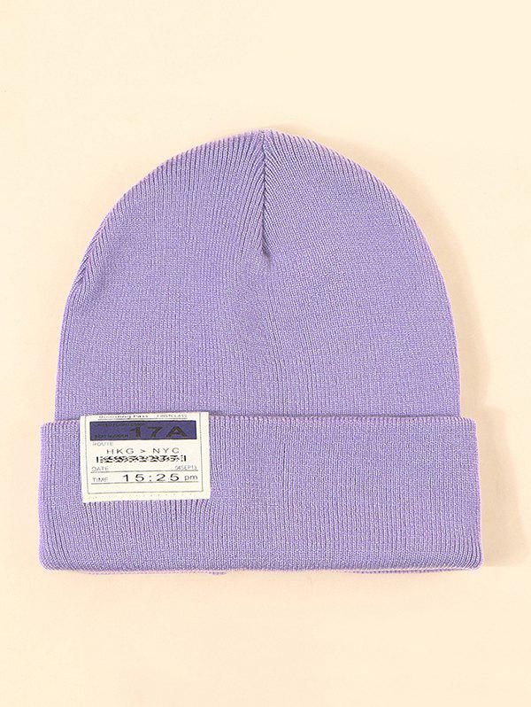 Turn Up Edge Cloth Label Knitted Hat - LIGHT PURPLE