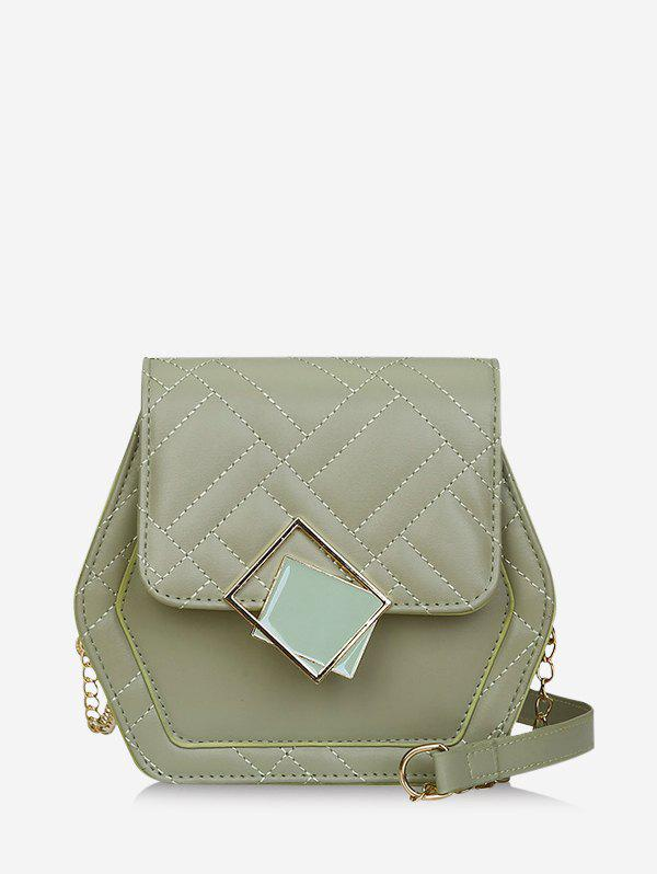 Geometric Chain Quilted Crossbody Bag - CAMOUFLAGE GREEN