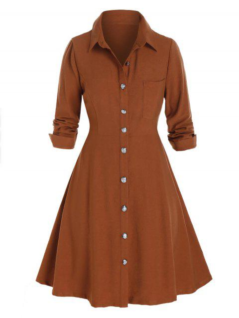 Plus Size Button Up Chest Pocket Shirt Dress