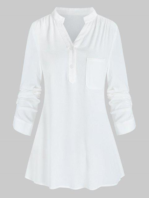 Solid Notched Collar Tab Sleeve Blouse