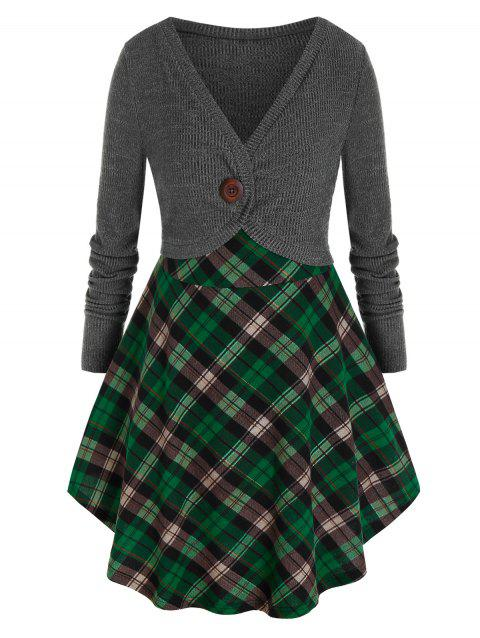 Plus Size Plaid Contrast Mixed Media Long Sweater