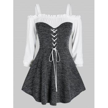 Plus Size Lace-up Marled Open Shoulder Frilled Knitwear