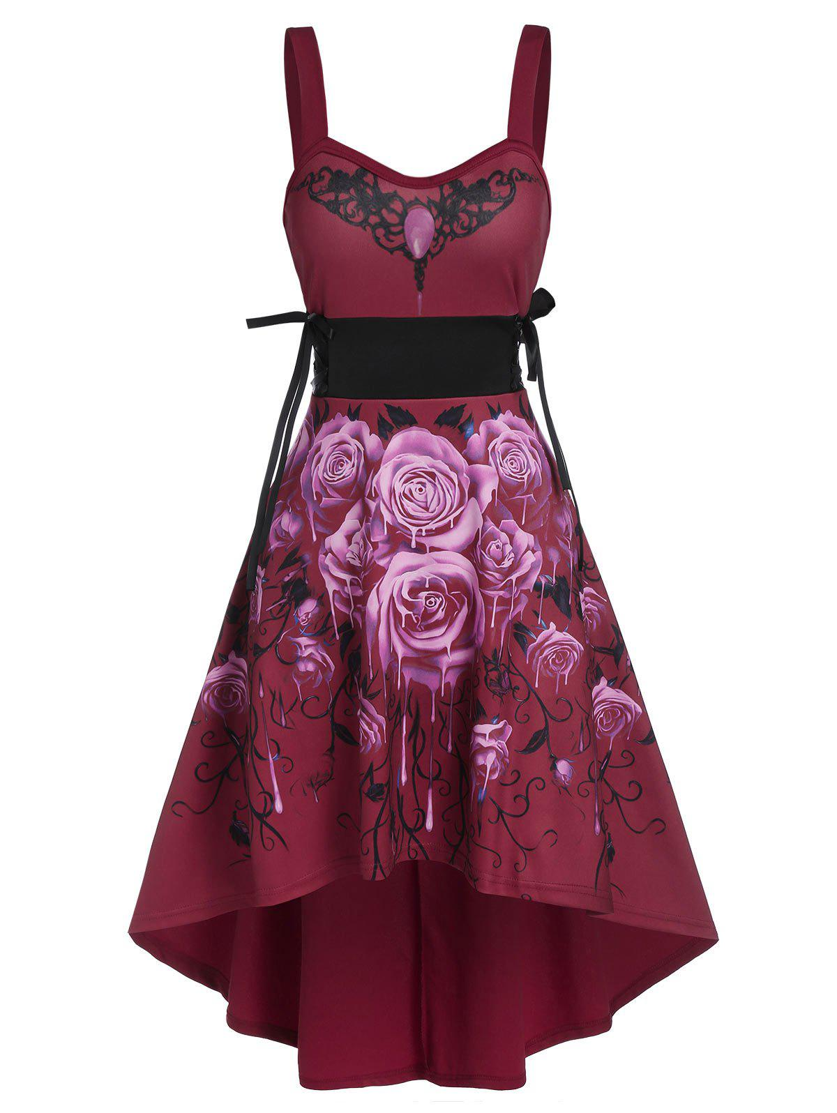 Sleeveless Flower Print Lace-up High Low Gothic Dress - RED WINE 2XL