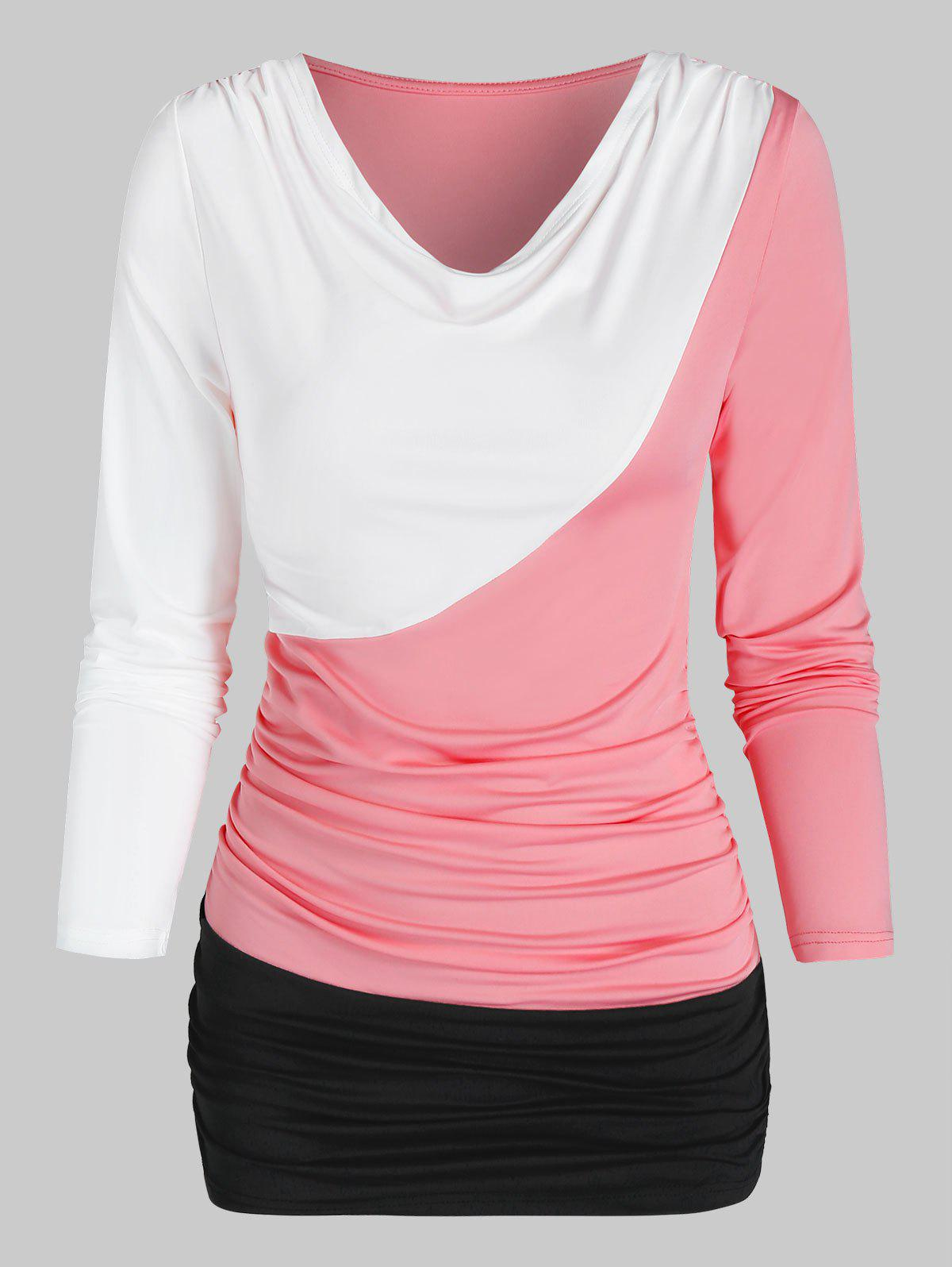Long Sleeve Contrast Ruched T-shirt - multicolor B 3XL