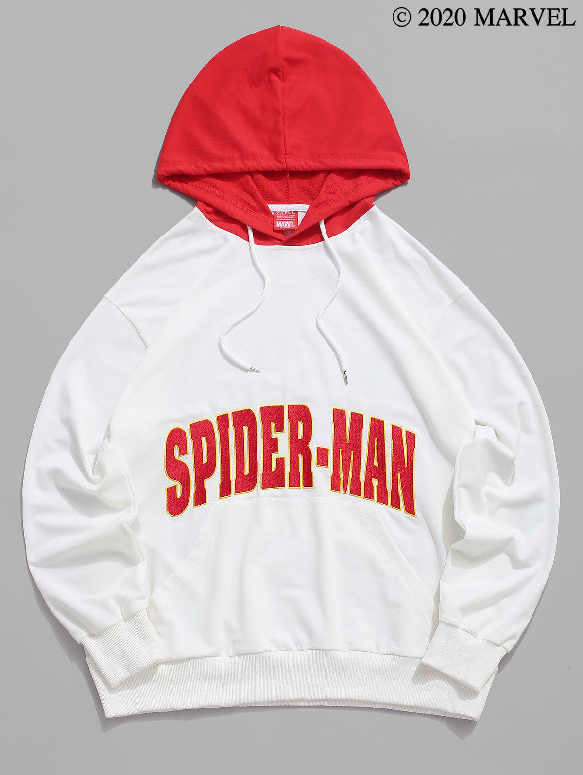 Marvel Spider-Man Letter Embroidered Contrast Pullover Hoodie - WHITE M