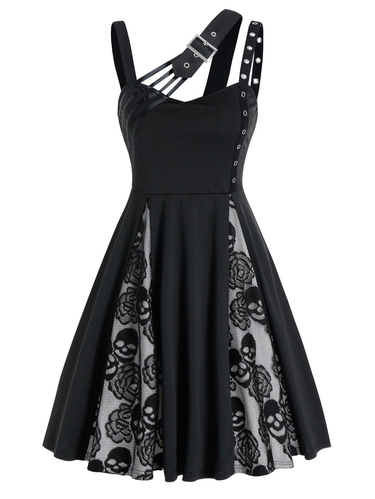 Halloween Skull Flower Lace Insert Sleeveless Dress - BLACK L