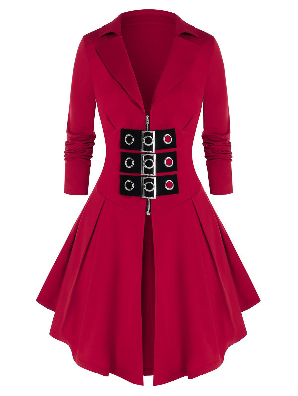 Plus Size Buckles Zip Front Skirted Coat - RED WINE 1X