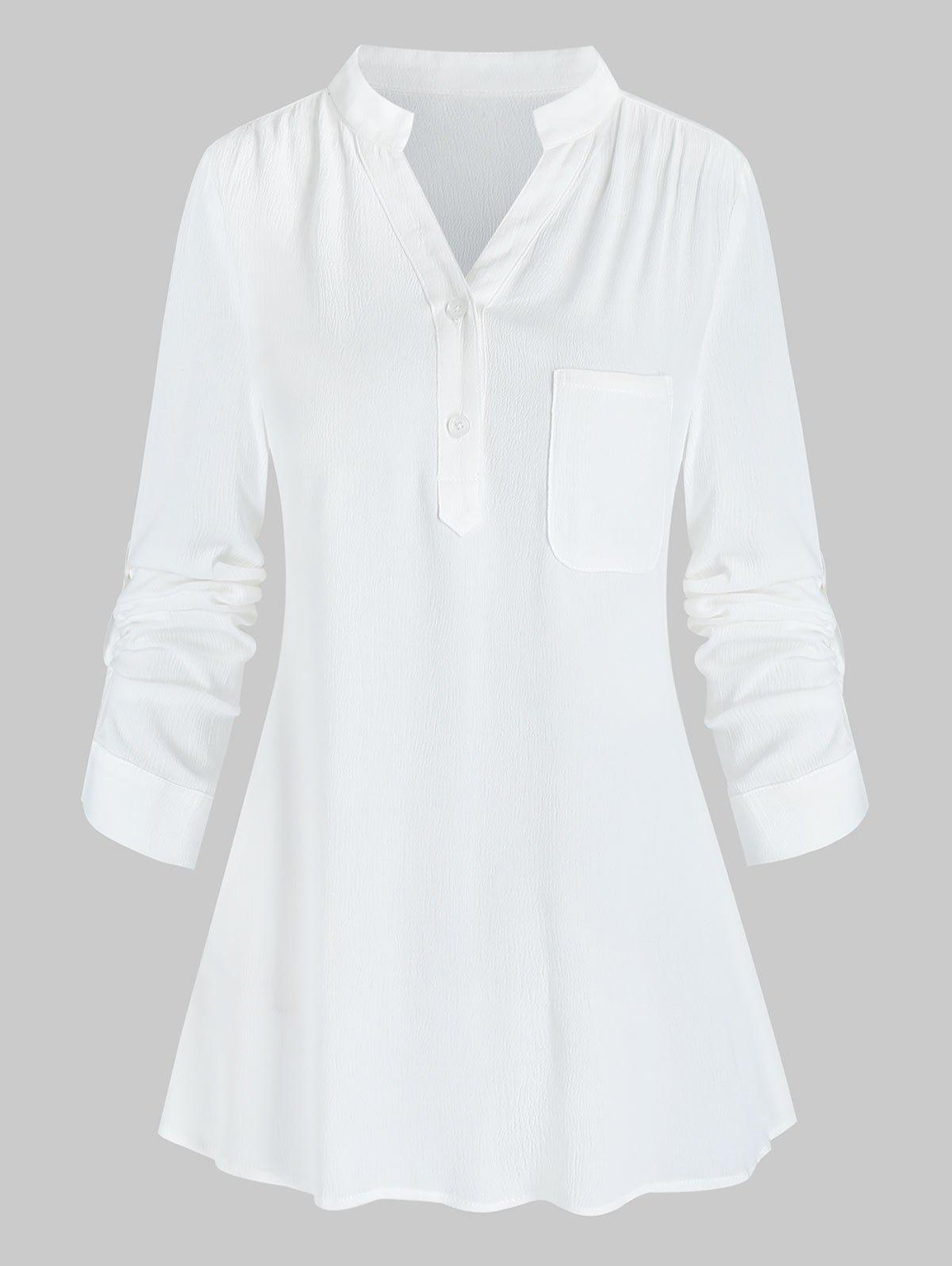 Solid Notched Collar Tab Sleeve Blouse - WHITE XL