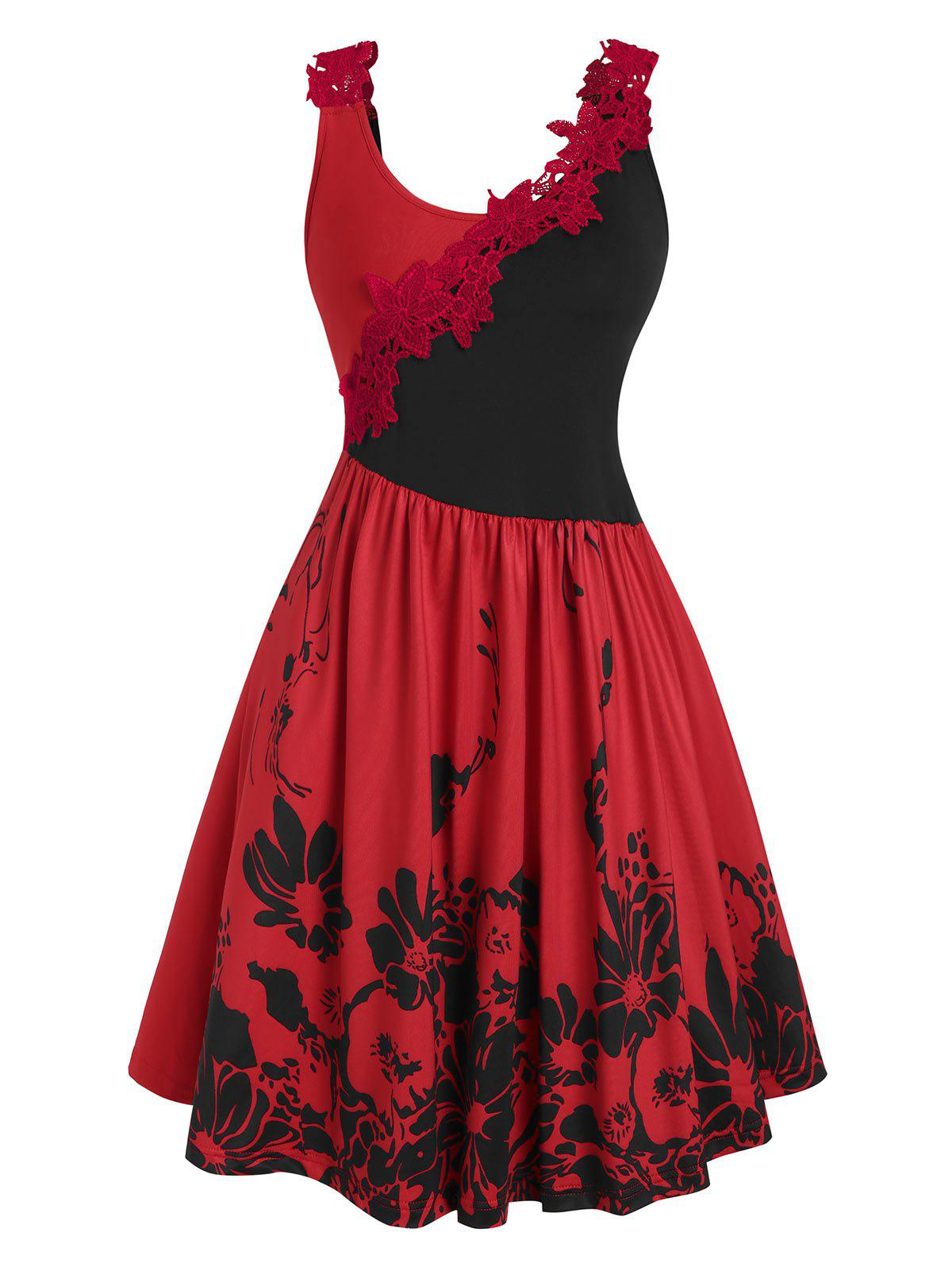 Two Tone Crochet Lace Panel Floral Dress - RED XXL