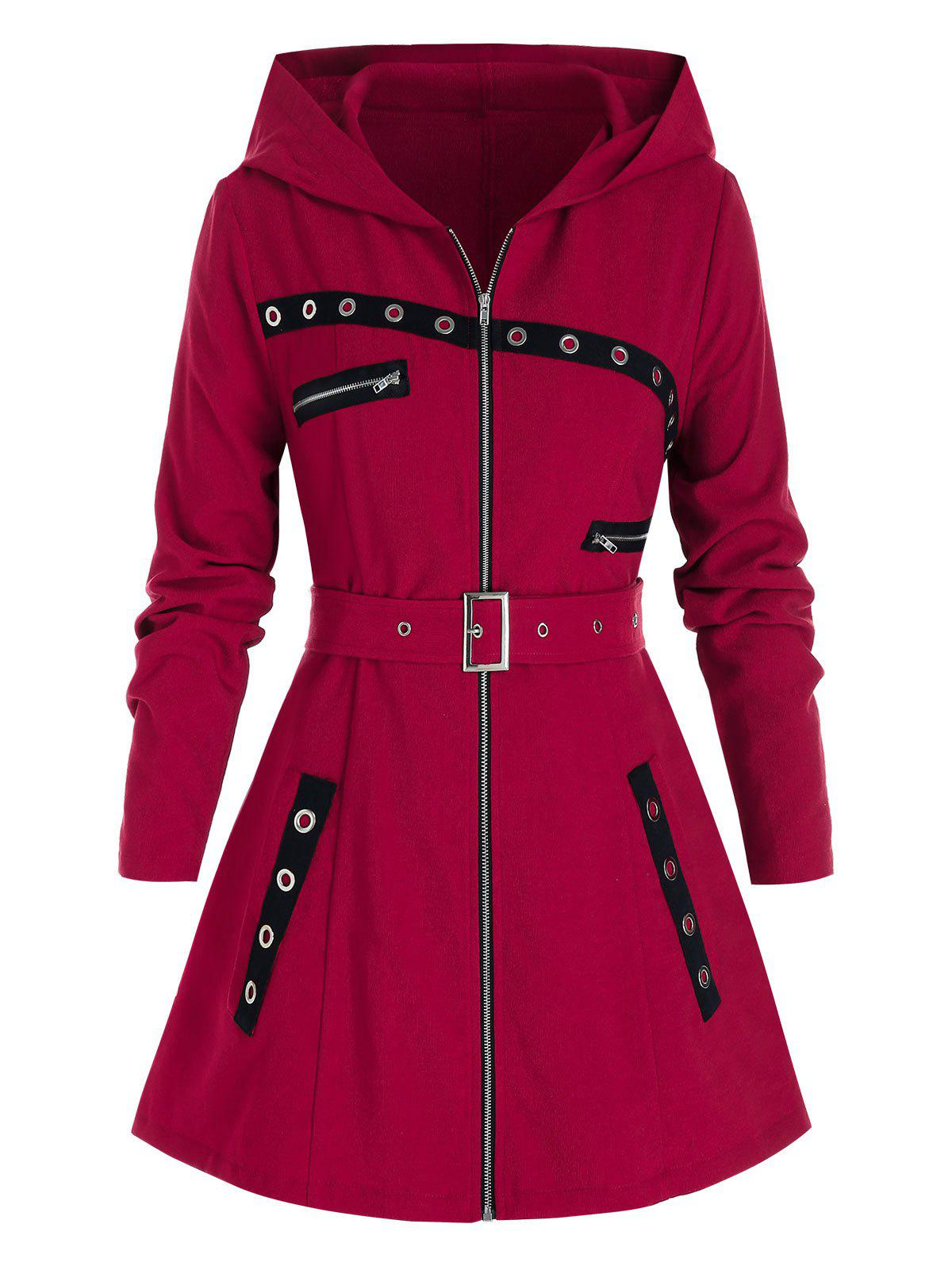 Plus Size Hooded Grommet Zipper Belted Coat - RED WINE L