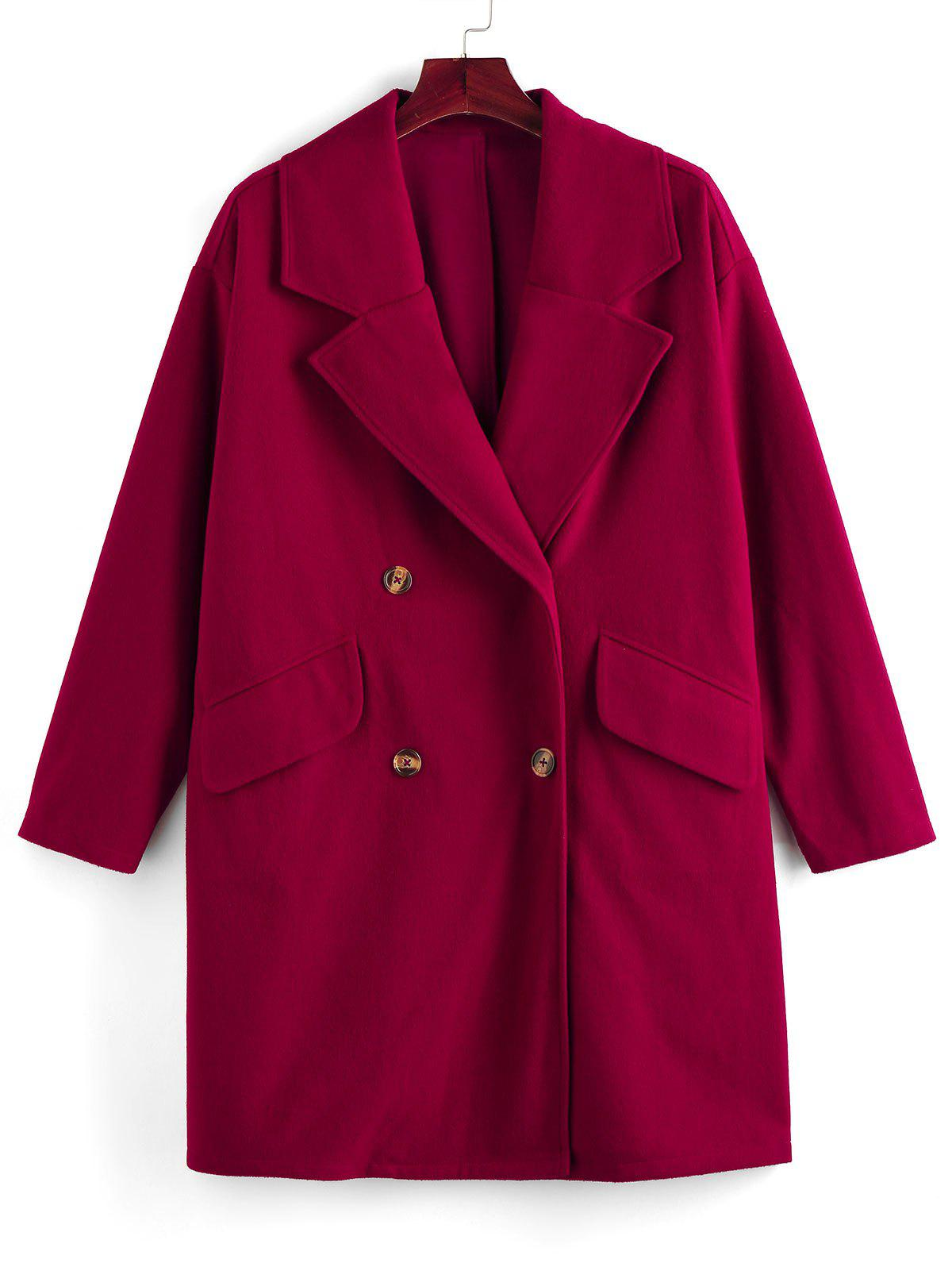 Plus Size Double Breasted Flap Detail Straight Coat - FIREBRICK 1X