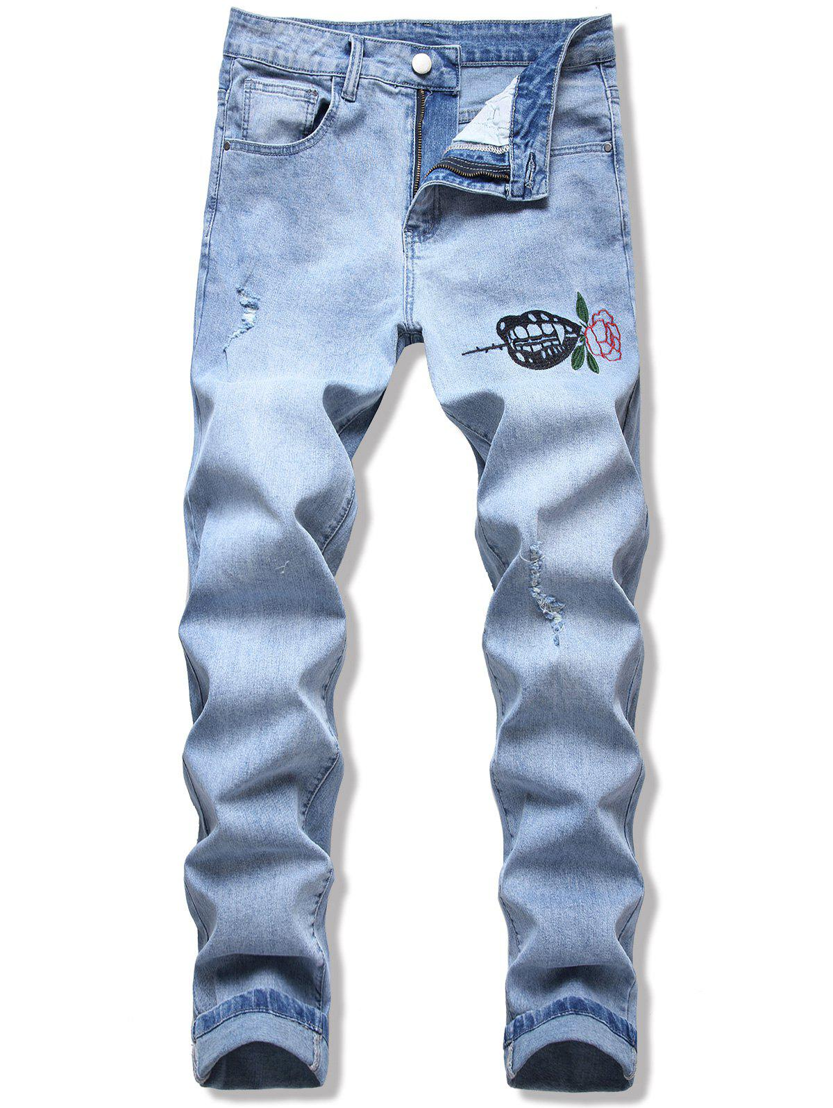 Flower Leaf Embroidery Ripped Long Jeans - LIGHT BLUE 40