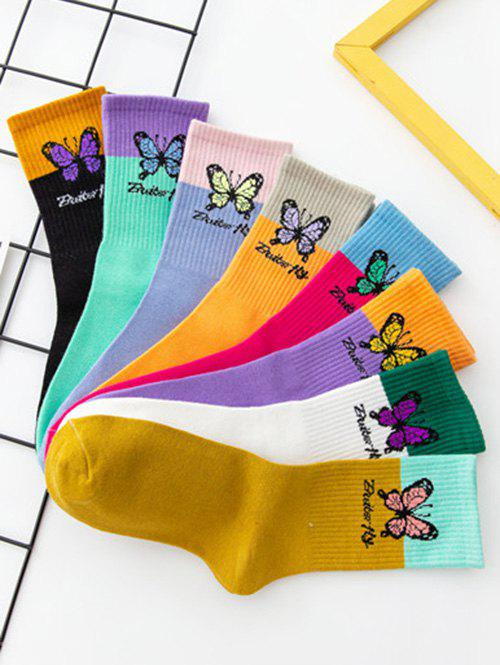 8 Pairs Butterfly Colorblock Crew Socks Set - multicolor A