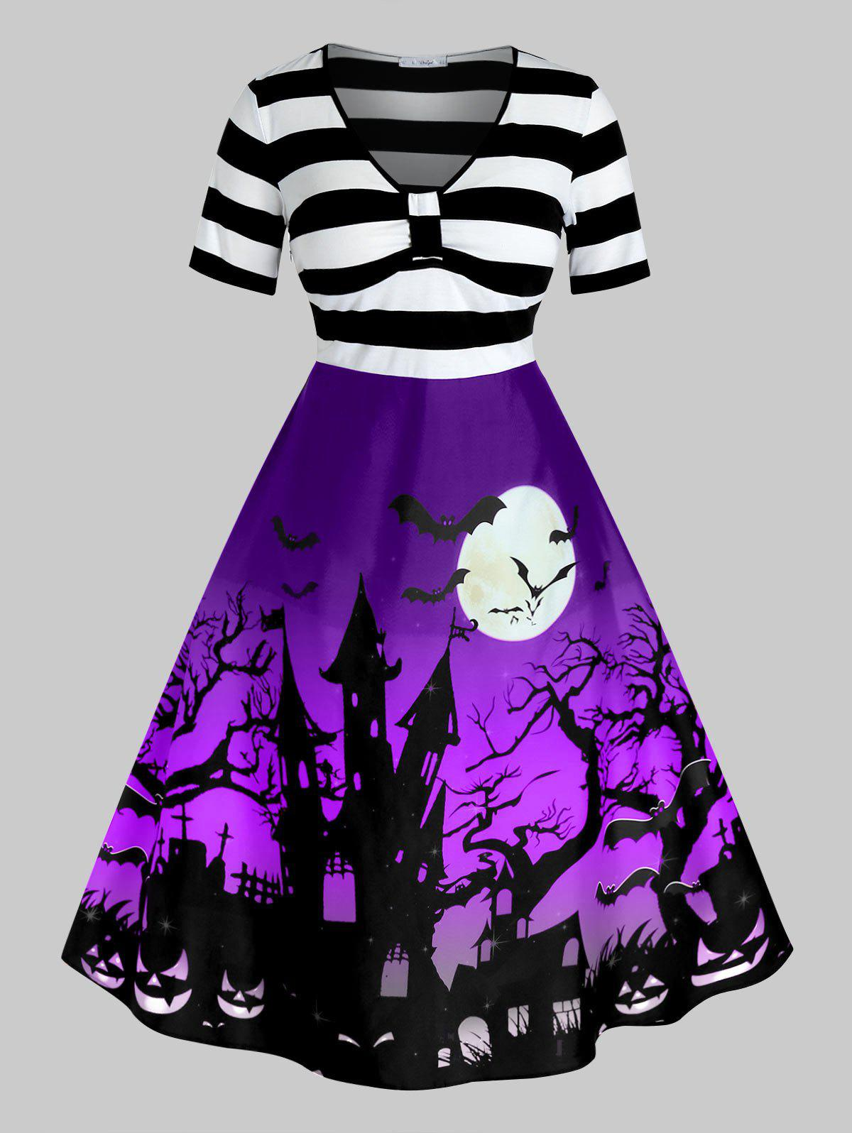 Plus Size Vintage Halloween Printed Pin Up Dress - PURPLE IRIS 5X