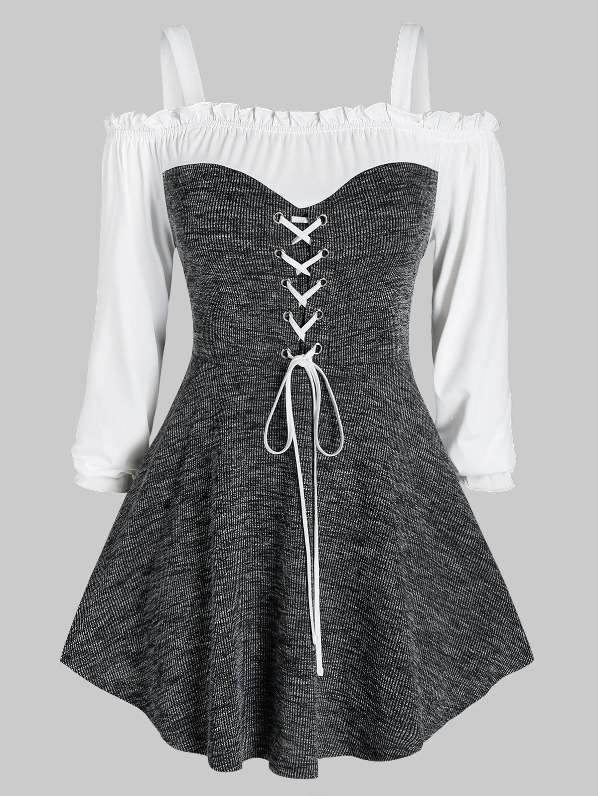 Plus Size Lace-up Marled Open Shoulder Frilled Knitwear - CLOUDY GRAY L