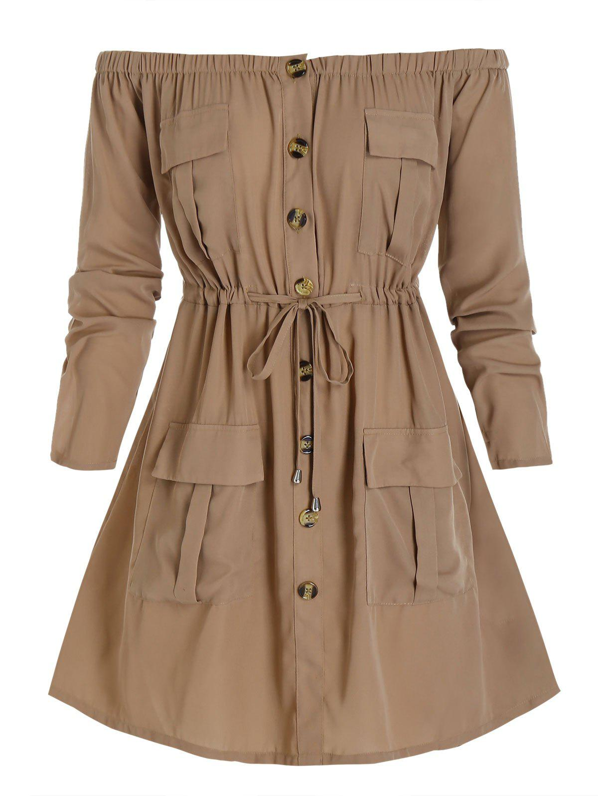Plus Size Off Shoulder Drawstring Cargo Shirt Dress - CAMEL BROWN 2X