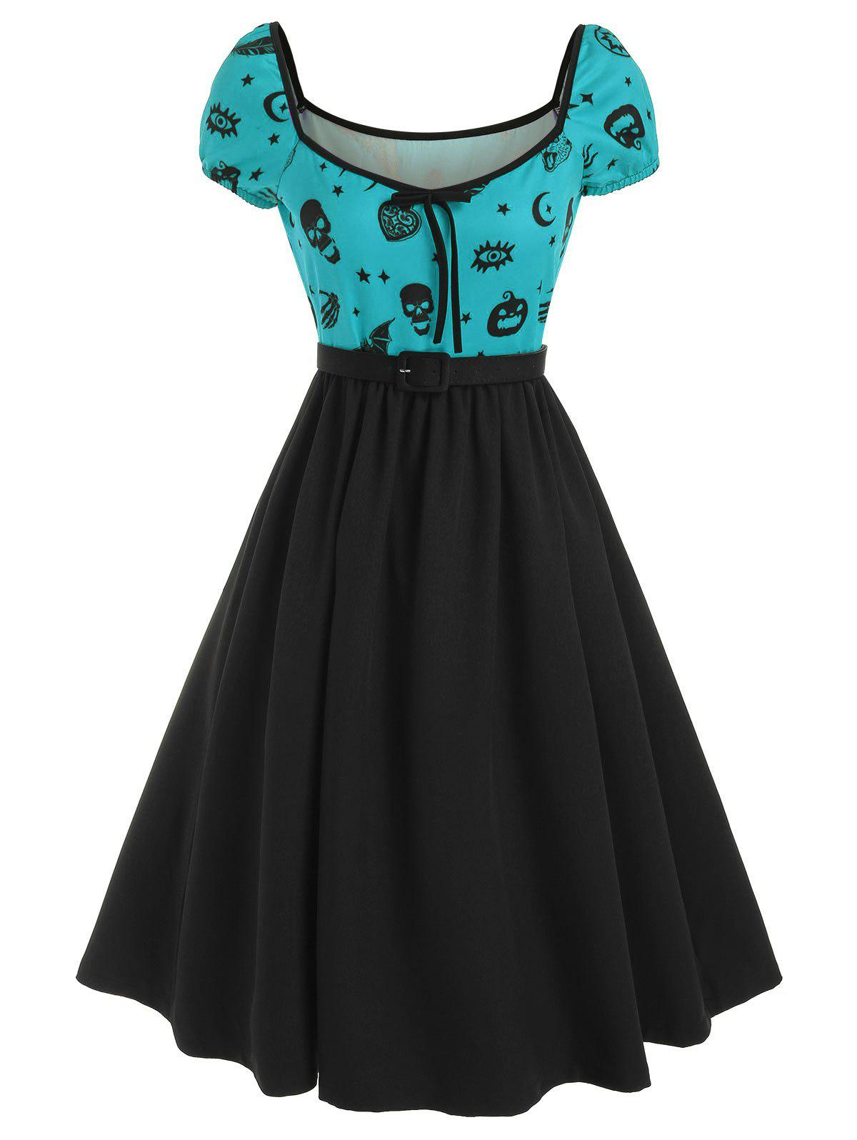 Halloween Skull Skeleton Hand Bowknot Dress - MEDIUM TURQUOISE L