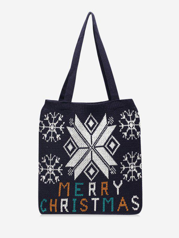 Christmas Tree Pattern Hand-knitted Tote Bag - BLACK
