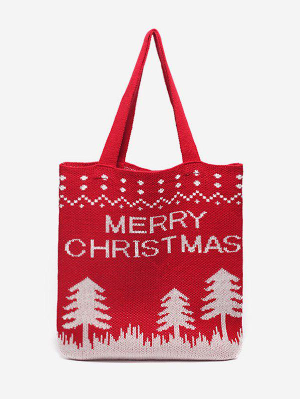 Christmas Tree Pattern Hand-knitted Tote Bag - LAVA RED