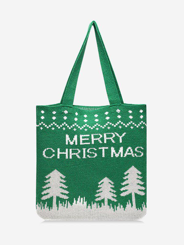Christmas Tree Pattern Hand-knitted Tote Bag - CLOVER GREEN