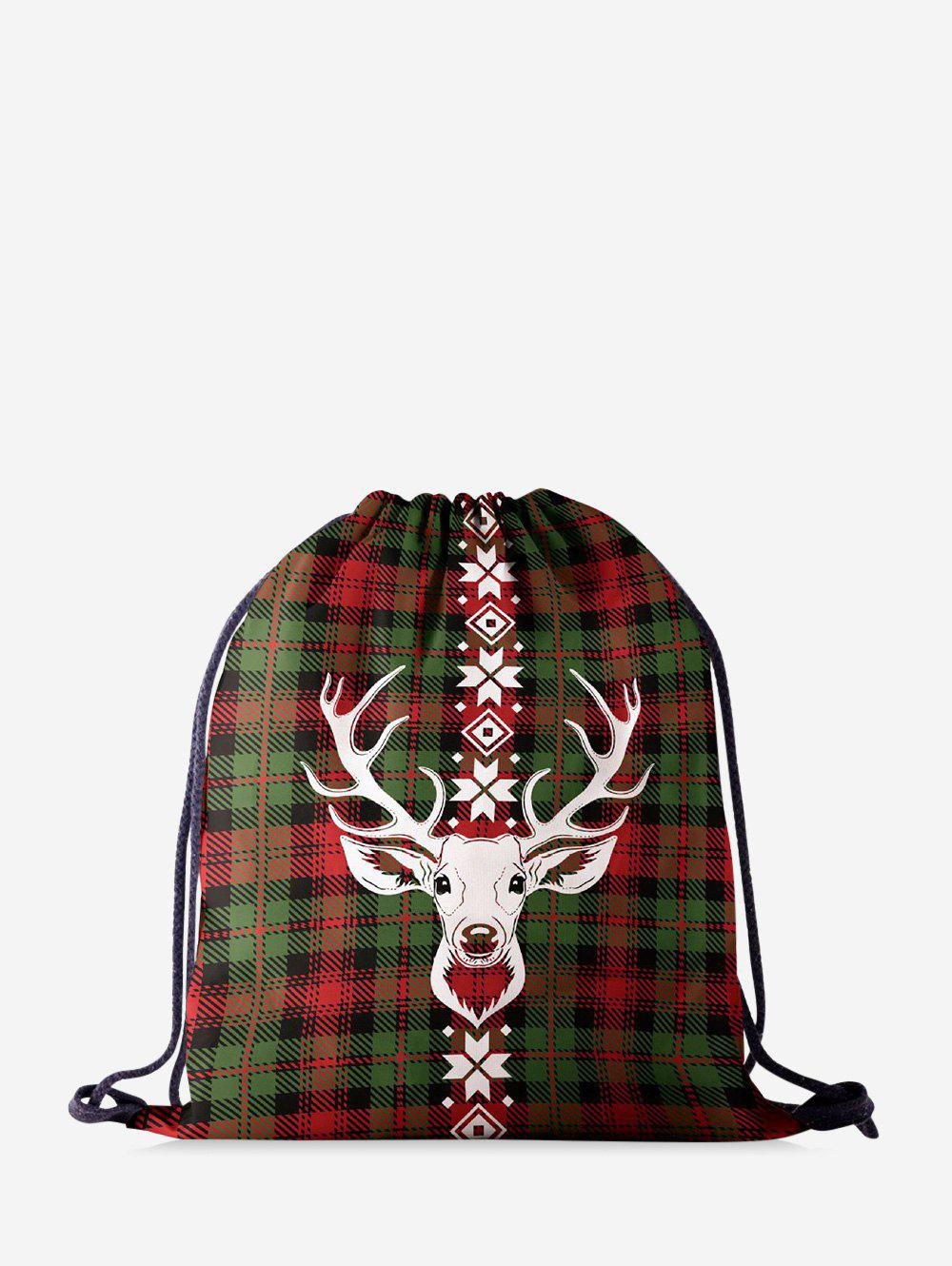 Christmas Plaid Elk Digital Printing Cinch Bag - DARK FOREST GREEN
